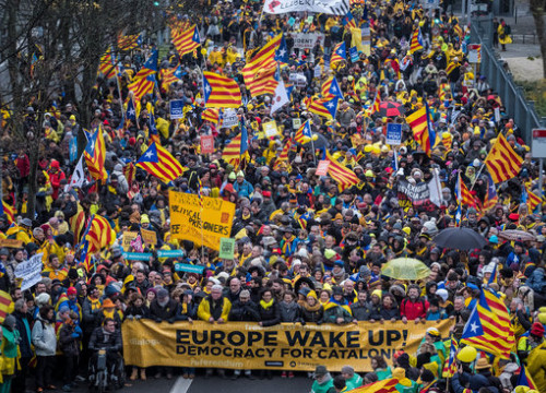 Catalan demonstrators at a march in Brussles in December 2017. (Photo: Jordi Borràs)