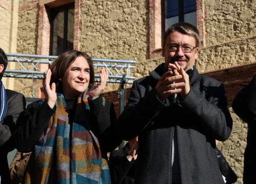 The Barcelona mayor, Ada Colau, alongside head of the Catalonia in Common list, Xavier Domènec h (by ACN)