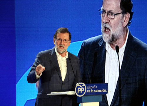 Mariano Rajoy speaking in Catalonia (by ACN)