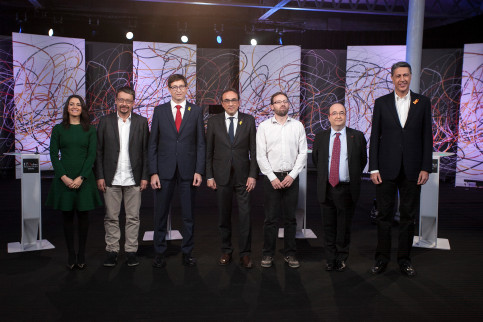 Representatives from the seven main parties in the December 21 Catalan elections at their debate on 'La Sexta' television station (by 'La Sexta')