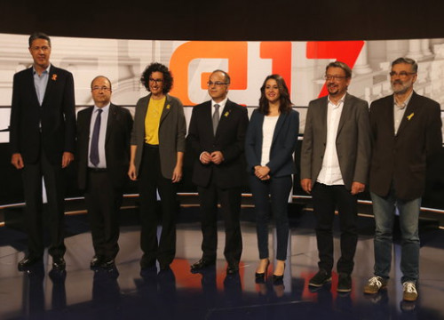 The seven party representatives who took part in the debate on Monday evening (by Jordi Pujolar)