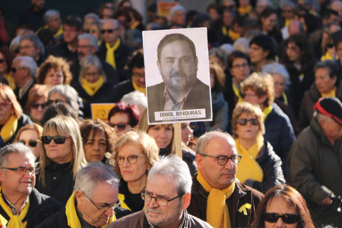 Protest held in December 2017 calling for the release of Jailed Catalan leaders (by ACN)