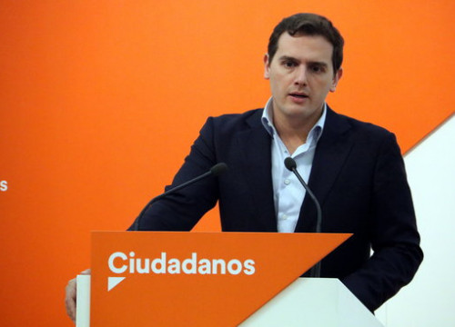 C's leader Albert Rivera at a press conference on January 8 2018 (by Tània Tàpia)