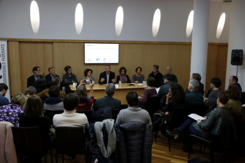 Catalan media representatives at a press conference in Barcelona on Friday (by Guillem Roset)
