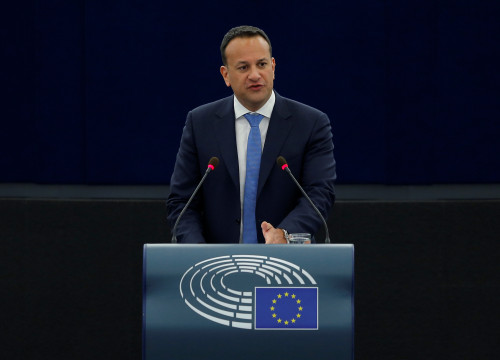 Leo Varadkar, the Irish PM, speaking at the European Parliament on January 17 (by Reuters)