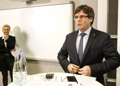 Carles Puigdemont, during his speech in Copenhagen (by Rafa Garrido)