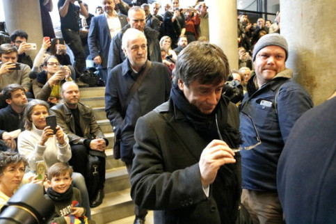 Catalan president Carles Puigdemont arrives at the University of Copenhagen on Monday (by Rafa Garrido)
