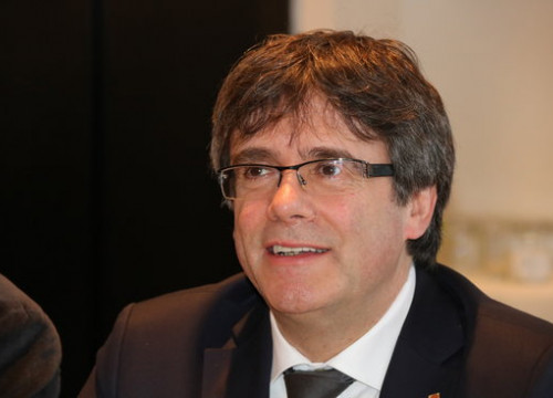 Carles Puigdemont, during a Junts per Catalunya meeting in Brussels on February 5, 2018 (by Laura Pous)