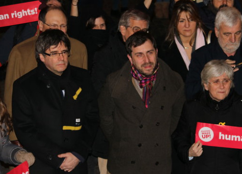 Puigdemont, Comín and Ponsatí in Leuven on Tuesday evening (by ACN)