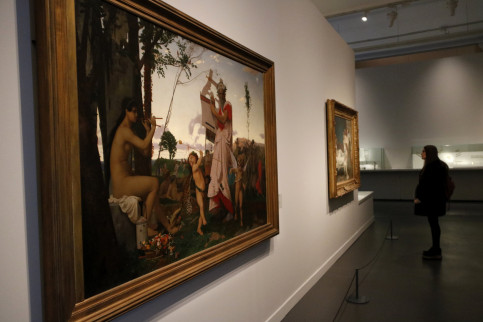 Paintings at the CaixaForum exhibit, including 'Anacreon, Bacchus and Love' by Jean-Léon Gerome on February 8 2018 (by Guillem Roset)