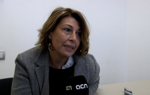 Jailed minister Joaquim Forn's wife, Laura Masvidal, during the interview with the ACN