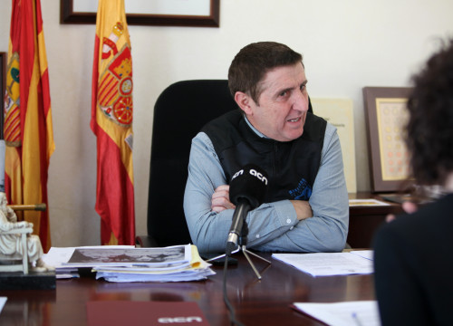 The mayor of Vilanova de Sixena, Ildefonso Salillas, during an interview with the Catalan News Agency on February 9 2018 (by Albert Segura)