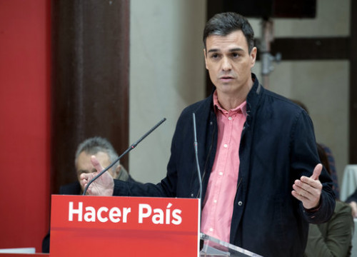 Pedro Sànchez speaks during a PSOE act on February 17 2018 (courtesy of PSOE)