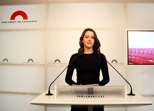 Ciutadans leader Inés Arrimadas in a press conference (by ACN)