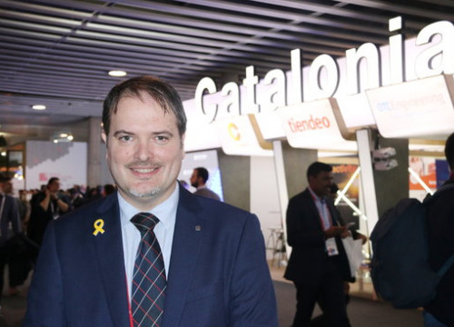 Managing director of Catalonia Trade and Investment, Joan Romero, at the Catalonia section of Mobile World Congress 2018 (by ACN)