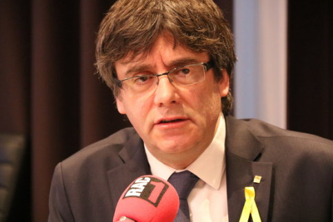 Puigdemont being interviewed in Brussels (by ACN)