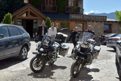 Four motorcyclists parked up at Cerdanya EcoResort de Prullans (by ACN)