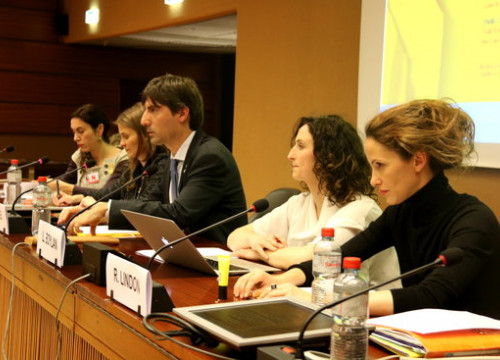 The Catalan MEP Jordi Solé (center) at the UN  headquarters in Geneva (by Laura Pous)