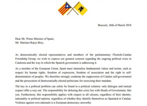 Letter sent to Spanish government by Flemish politicians (by ACN)
