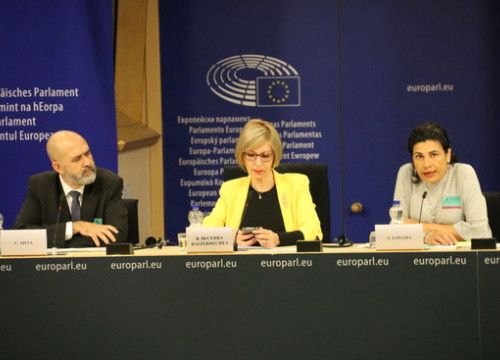 Petitioners Carlos Silva and Ana Losada (left and right), with MEP Beatriz Becerra (center)