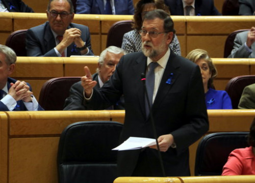 The Spanish president, Mariano Rajoy, in the Senate on May 8, 2018 (by Tània Tàpia)