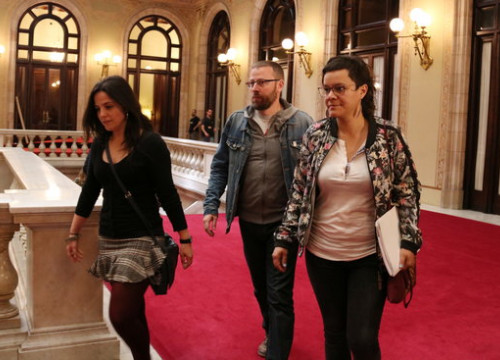 CUP MPs arriving in the Catalan parliament on May 12 (by ACN)