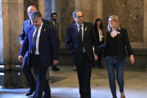 Presidential candidate Quim Torra alongside Elsa Artadi, Albert Batet and Eduard Pujol in parliament (by ACN)