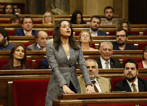 Ciutadans leader Inés Arrimadas in parliament (by Marc Rovira)