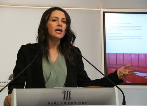 Inés Arrimadas speaks at the press conference room on June 7 2018 (by Núria Julià)