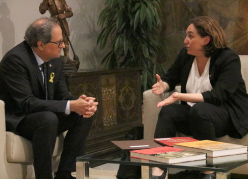 The Barcelona mayor Ada Colau and president of Catalonia Quim Torra on June 18 2018 (by Bernat Vilaró)