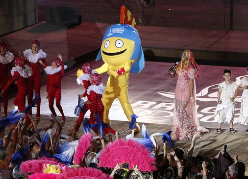 The Mediterranean Games' mascot Tarracus at the opening ceremony (by ACN)