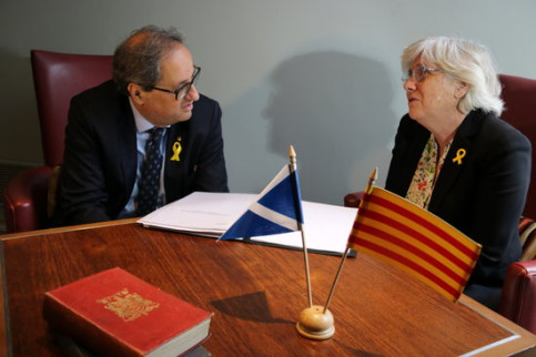Quim Torra and Clara Ponsatí meet in Ediburgh on July 11 2018 (by Laura Pous)