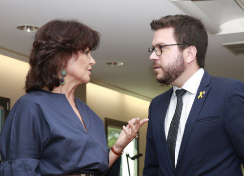 Vice presidents of Spanish and Catalan governments Pere Aragonès and Carmen Calvo on Juky 12 2018 (courtesy of La Moncloa)