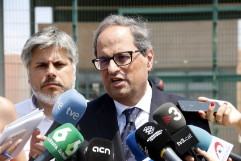 Quim Torra speaks to the press on July 12 2018 (by Mar Martí)