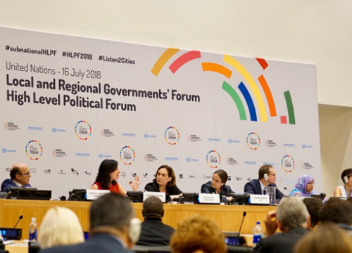 Barcelona mayor Ada Colu speaks at the Local and Regional Government's Forum at the UN on July 16 2018 (photo courtesy of Barcelona City Council)