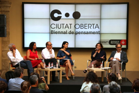 Ada Colau speaks at the press conference for the presentation of 'Ciutat Oberta' on July 27 2018 (by Pau Cortina)