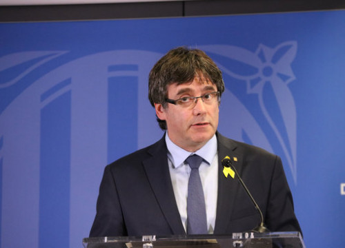 Carles Puigdemont at press conference in Brussels on Saturday (ACN)
