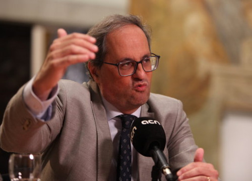 Catalan President Quim Torra during an interview with ACN (by Pau Cortina)