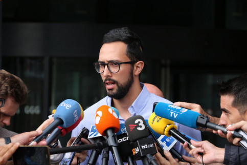 Valtònyc speaks to the press in Ghent, Belgium, after hearing on September 3 2018 (by Blanca Blay)