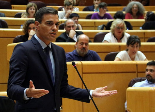 Pedro Sánchez speaking on September 11 in the Spanish congress (Tània Tàpia)