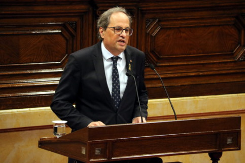 The Catalan president, Quim Torra, speaking before the Catalan Parliament on October 2, 2018 (by Jordi Bataller)