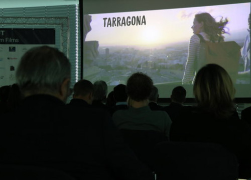 Image of the clip 'La Ruta de l'Atzar' while being shown in the CIFFT awards in Vienna on November 13, 2018 (by Andrea Zamorano)
