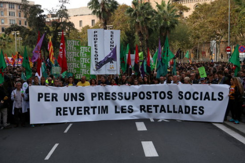 Image of the unitary demonstration of the education sector, students and other civil servants in Barcelona on November 29 (by Andrea Zamorano)