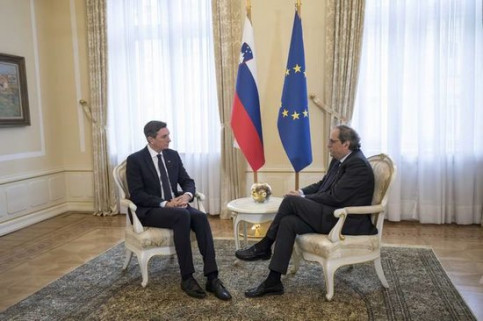 The President of Slovenia, Borut Pahor, met on Thursday Catalan leader Quim Torra in Ljubljana (by Slovenian Presidency)