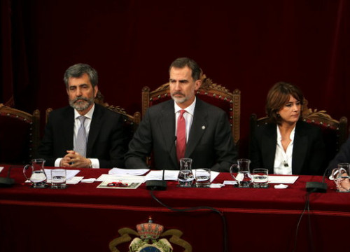 Spain's king Felipe VI (center) during the inauguration ceremony for new judges (by Tània Tàpia)