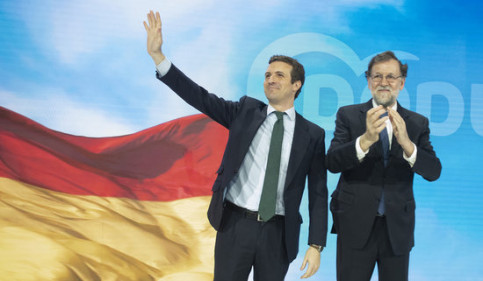 Pablo Casado (left) replaced Mariano Rajoy as People's Party head in June 2018 (by PP)