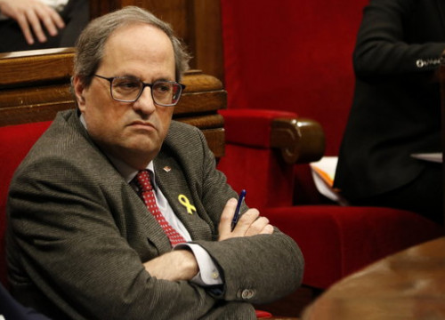 The Catalan president, Quim Torra, in a parliament session on January 23, 2019 (by Guillem Roset)