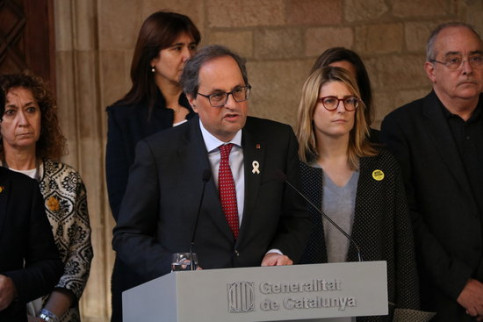 The Catalan president, Quim Torra, during his institutional statement along with the rest of cabinet members on February 1 (by Núria Julià)