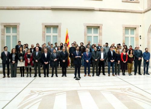 Image of the institutional statement by parliament speaker Roger Torrent on February 7, 2019 (by Núria Julià)