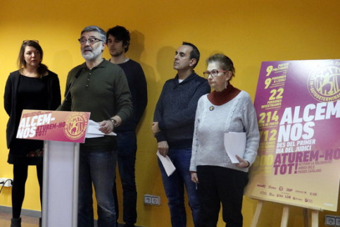 CUP MP Carles Riera along with other party members on February 8, 2019 (by